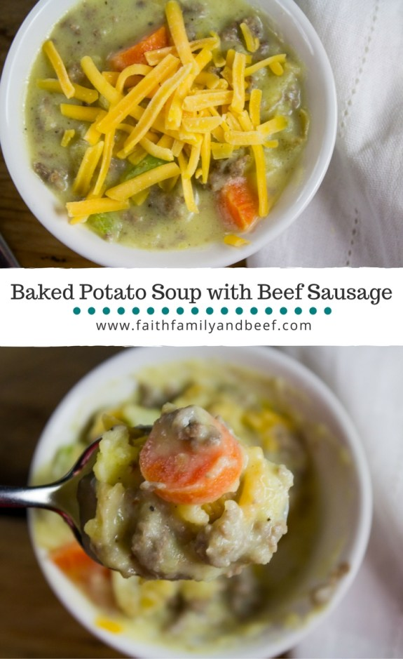 Baked Potato Soup with Ground Beef Sausage