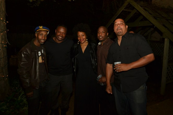 To far Left: DJ SP1 aka Sunil R. Honeycutt 3rd from left: Owner of Aplomb Art Gallery, Amiel Bee Right of Amiel Bee: Owner of Culture Connection, Justice Collins 1st on right 300 group member Keith Benard