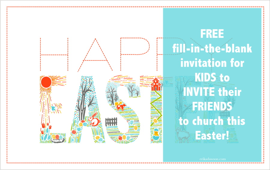 Easter Invitation for kids to invite their friends to church on Easter