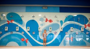 easily accessible showers at Big Blue Swim School