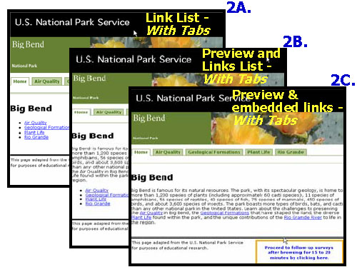 Variations of Big Bend Test Pages With Tabbed Navigation