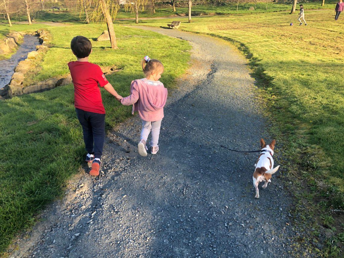 Lucas and Abigail walking Cassie