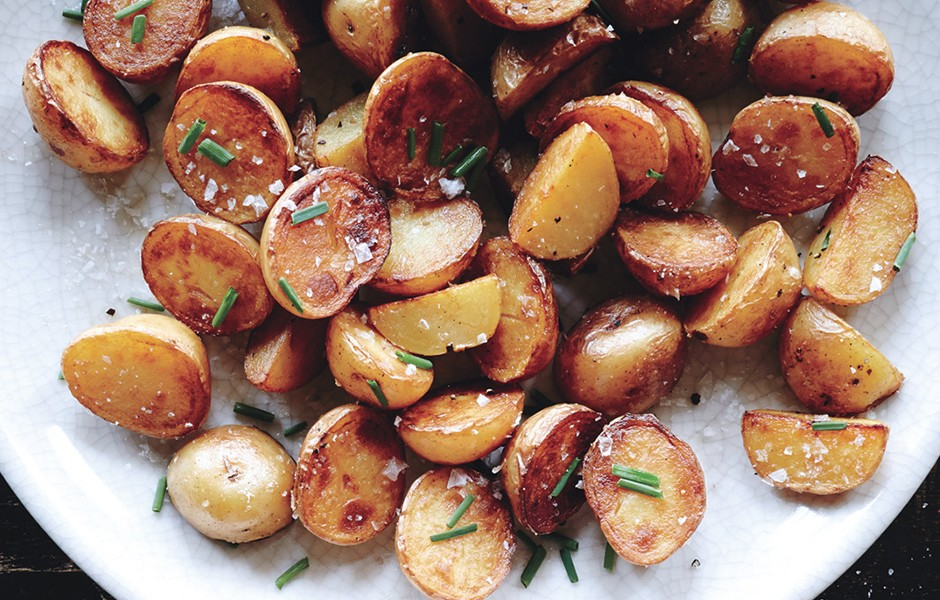 Crispy Salt and Vinegar Potatoes | Faith, Hope, Love, and Luck Survive Despite a Whiskered Accomplice