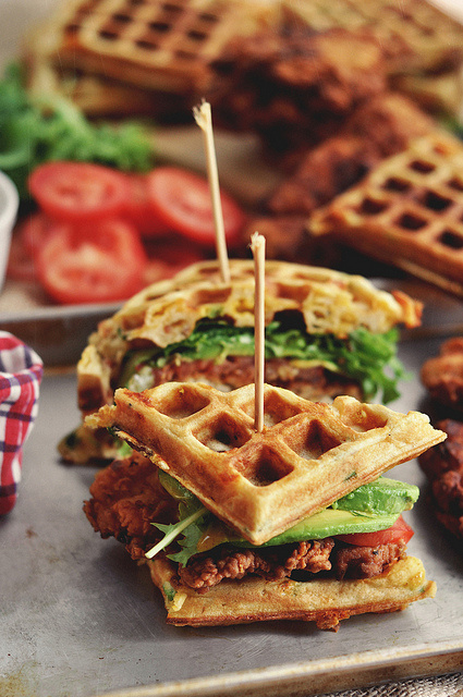 Fried Chicken and Waffle Sandwiches | Faith, Hope, Love, and Luck Survive Despite a Whiskered Accomplice