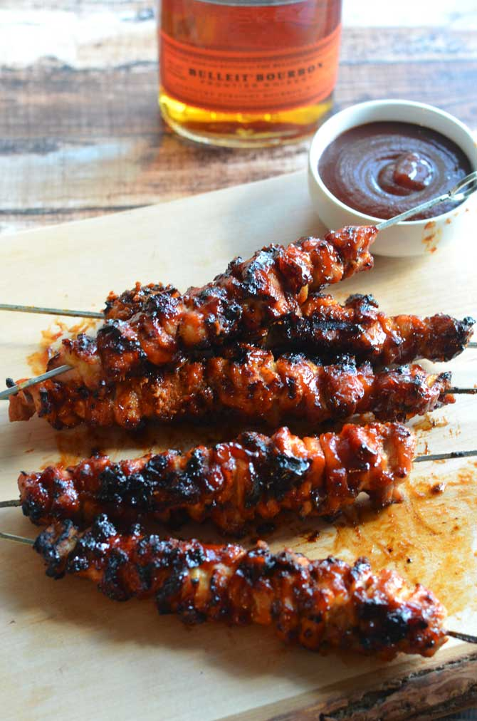 Bacon Bourbon BBQ Chicken Kebabs | Faith, Hope, Love, and Luck Survive Despite a Whiskered Accomplice
