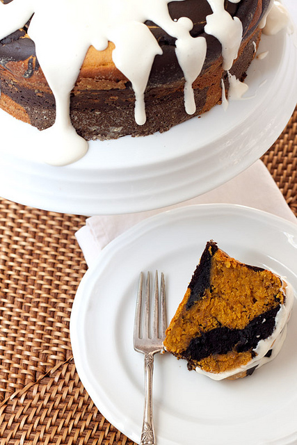 Chocolate-Pumpkin Marble Cake | Faith, Hope, Love, and Luck Survive Despite a Whiskered Accomplice