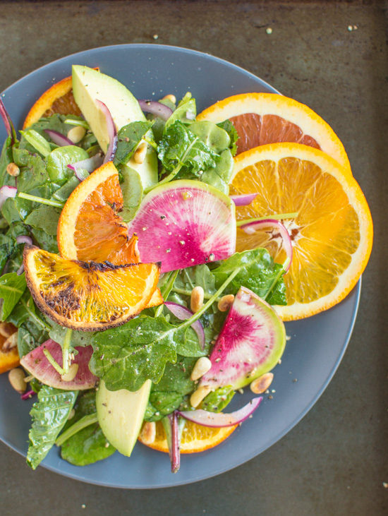 Roasted Orange Rainbow Salad with Asian Orange Vinaigrette | Faith, Hope, Love, and Luck Survive Despite a Whiskered Accomplice