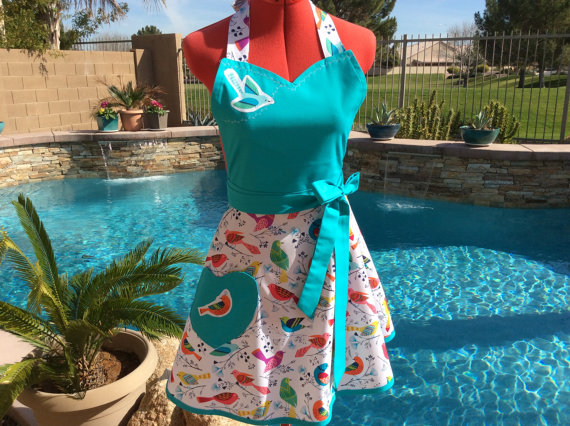 Sweet and Sassy Bird Apron | Faith, Hope, Love, and Luck Survive Despite a Whiskered Accomplice