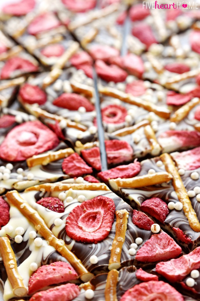Strawberry Pretzel Chocolate Swirl Bark | Faith, Hope, Love, and Luck Survive Despite a Whiskered Accomplice