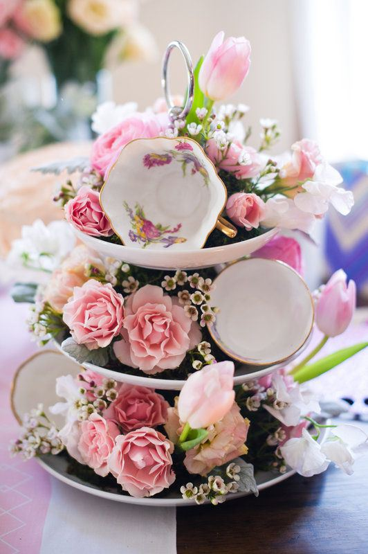 Valentine's Cake Teacups with Flower Tower - #YouSparkle Valentine's Day | Faith, Hope, Love, and Luck Survive Despite a Whiskered Accomplice