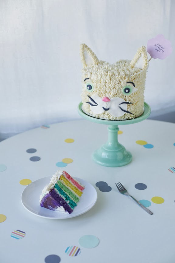 Rainbow Cat Birthday Cake | Faith, Hope, Love, and Luck Survive Despite a Whiskered Accomplice