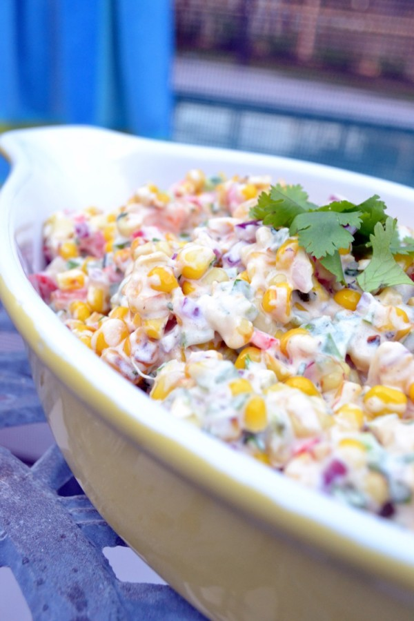 Creamy Spicy Warm Summer Corn Salad | Faith, Hope, Love, and Luck Survive Despite a Whiskered Accomplice