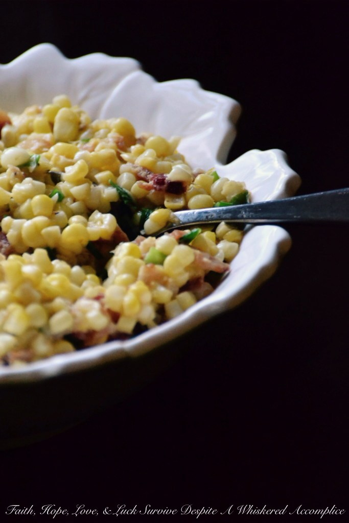 Smoky Creamed Corn with Bacon & Scallions | Faith, Hope, Love, and Luck Survive Despite a Whiskered Accomplice