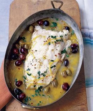 Roasted Pacific Cod with Olives and Lemon | Faith, Hope, Love, and Luck Survive Despite a Whiskered Accomplice