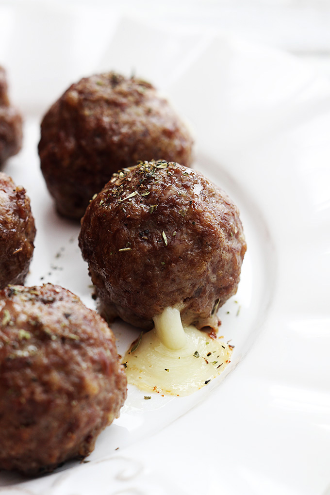 Slow Cooker Mozzarella Stuffed Meatballs | Faith, Hope, Love, and Luck Survive Despite a Whiskered Accomplice