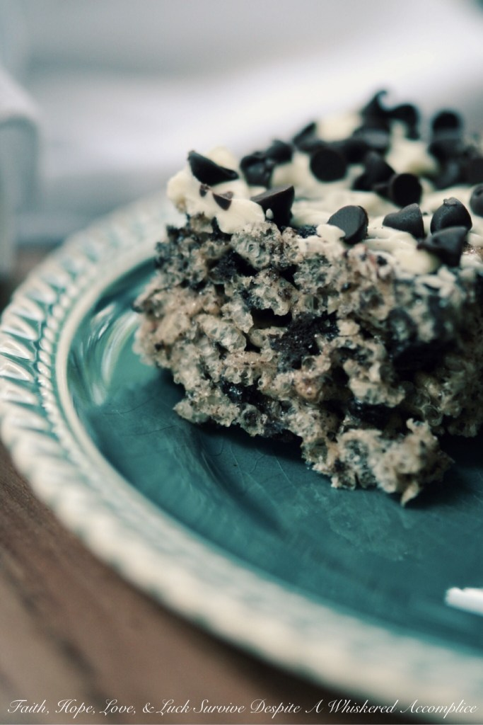 Oreo Rice Krispies Treats | Faith, Hope, Love, and Luck Survive Despite a Whiskered Accomplice