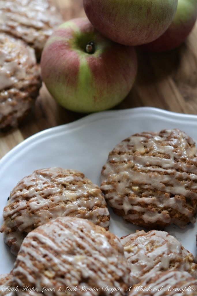 Iced Oatmeal Apple Toffee Cookies   Faith, Hope, Love, and Luck Survive Despite a Whiskered Accomplice