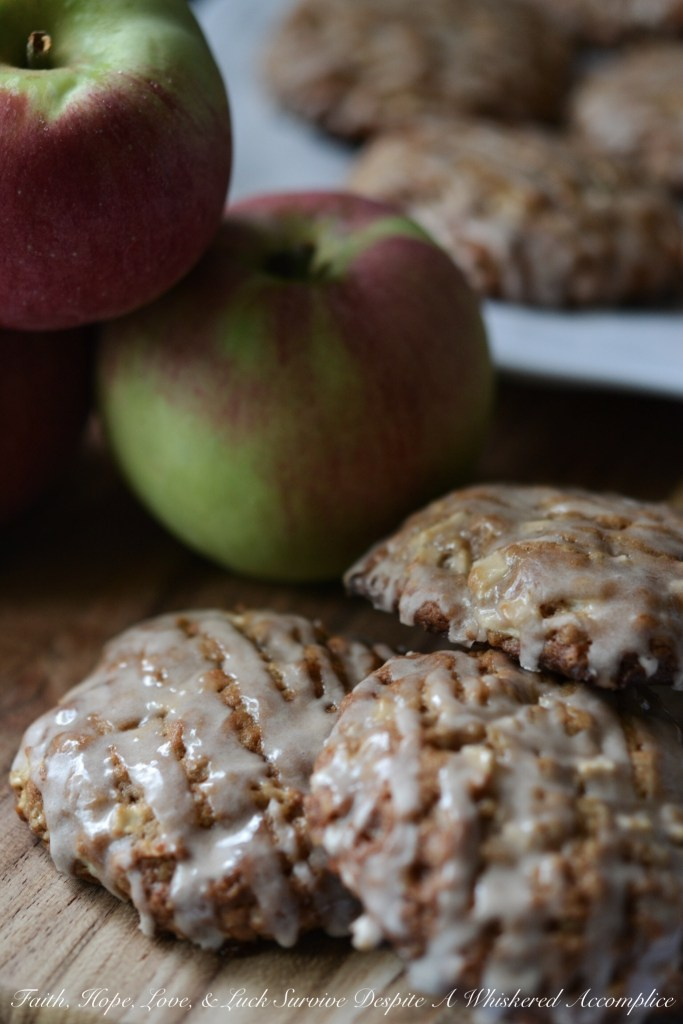 Iced Oatmeal Apple Toffee Cookies | Faith, Hope, Love, and Luck Survive Despite a Whiskered Accomplice