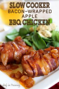 Slow Cooker Bacon-Wrapped Apple BBQ Chicken | Faith, Hope, Love, and Luck Survive Despite a Whiskered Accomplice