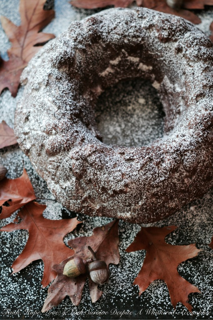 Autumn Spiced Pumpkin Hot Chocolate Bundt Cake - #BundtBakers | Faith, Hope, Love, and Luck Survive Despite a Whiskered Accomplice