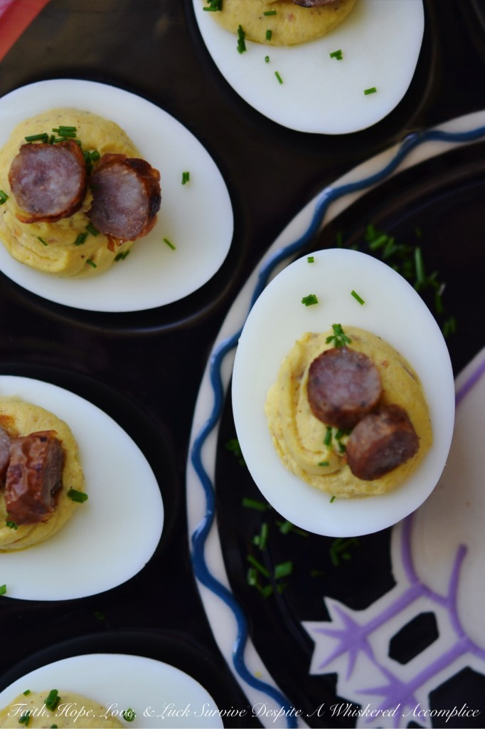 Maple Sausage Breakfast Deviled Eggs | Faith, Hope, Love, and Luck Survive Despite a Whiskered Accomplice