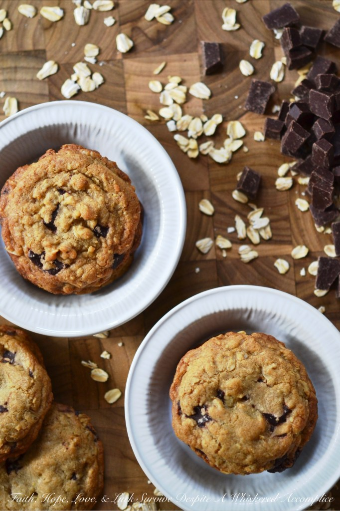 Brown Butter Oatmeal Chocolate Chunk Cookies | Faith, Hope, Love, and Luck Survive Despite a Whiskered Accomplice