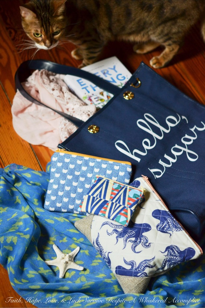 Draper James Hello Sugar Tote & Sterling Sewn Zipper Pouches   Faith, Hope, Love, and Luck Survive Despite a Whiskered Accomplice