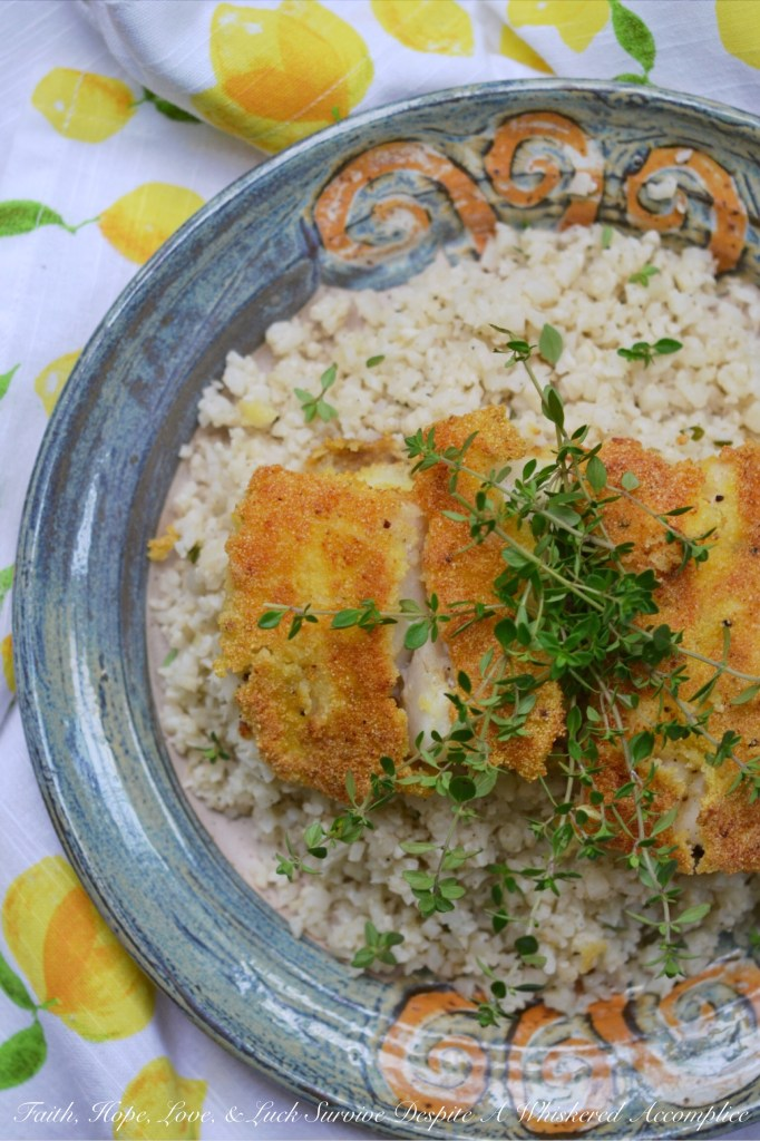 Cornmeal Crusted Cod with Buttermilk Cauliflower Rice | Faith, Hope, Love, and Luck Survive Despite a Whiskered Accomplice