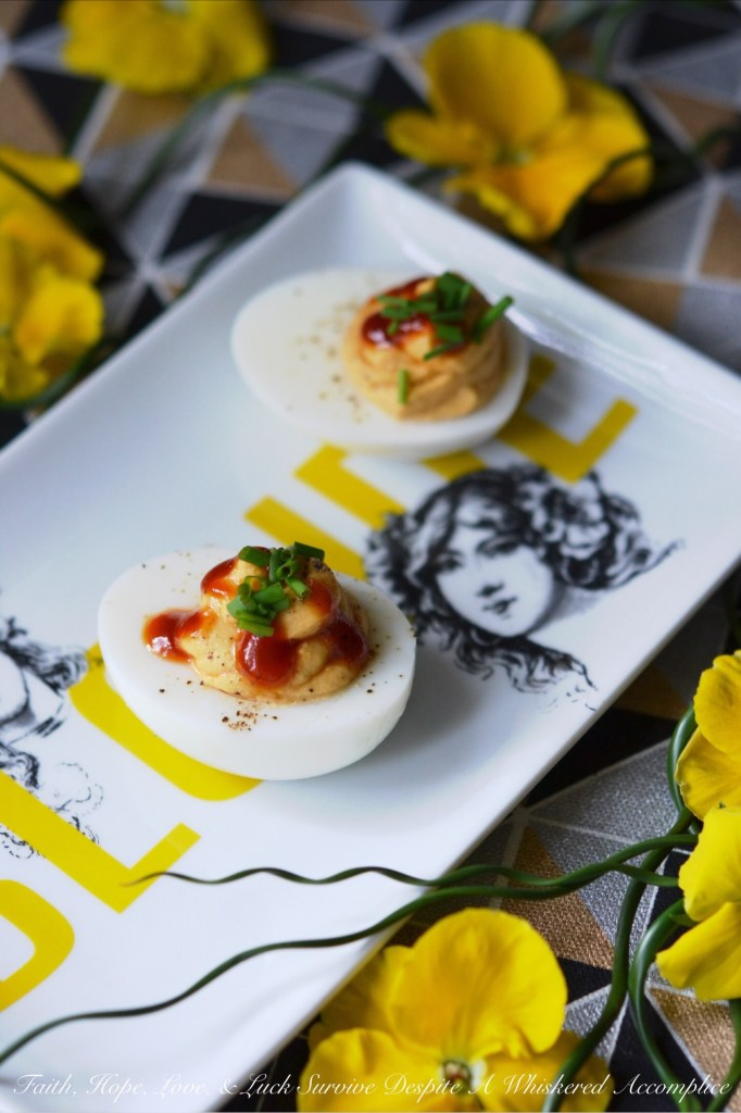 5 Ingredient Barbecue Deviled Eggs | Faith, Hope, Love, and Luck Survive Despite a Whiskered Accomplice