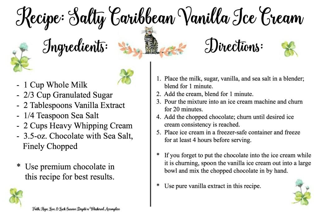 Salty Caribbean Vanilla Ice Cream Recipe Card | Faith, Hope, Love, & Luck Survive Despite a Whiskered Accomplice