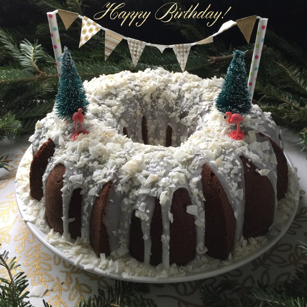Tropical Winter Wonderland Bundt Cake | Faith, Hope, Love, and Luck Survive Despite a Whiskered Accomplice