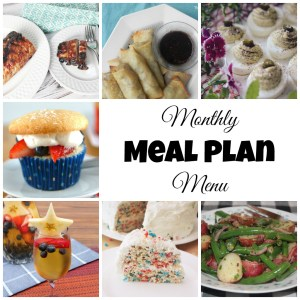This patriotic and cookout themed July 2017 Monthly Meal Plan will help you decide what to make for dinner during the heat of the summer.