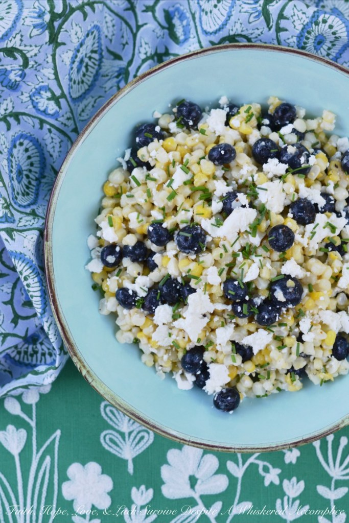 White Balsamic Blueberry, Corn, and Feta Salad - Faith, Hope, Love, and Luck Survive Despite a Whiskered Accomplice