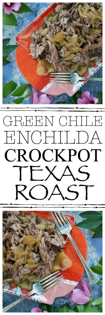 A mouthwatering crockpot roast rubbed with Texas seasoning and then slowly cooked in green chile enchilada sauce until tender and flavorful.