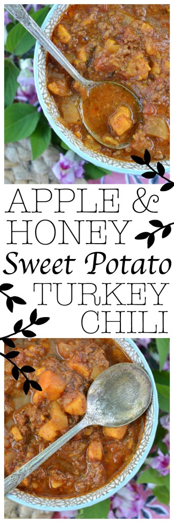 Finely chopped fall harvest apples and sweet potatoes, combined with honey and spices, help to make this autumn turkey chili both sweet and spicy.