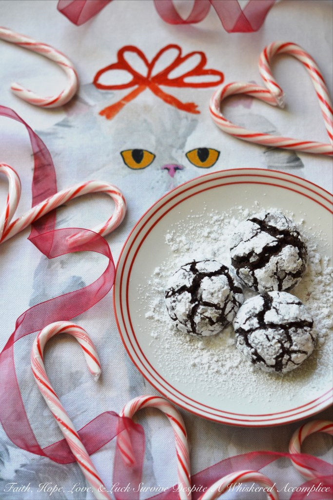 A hint of cinnamon and spice make these traditional Christmas chocolate chip crinkle cookies coated in powdered sugar a real holiday treat.