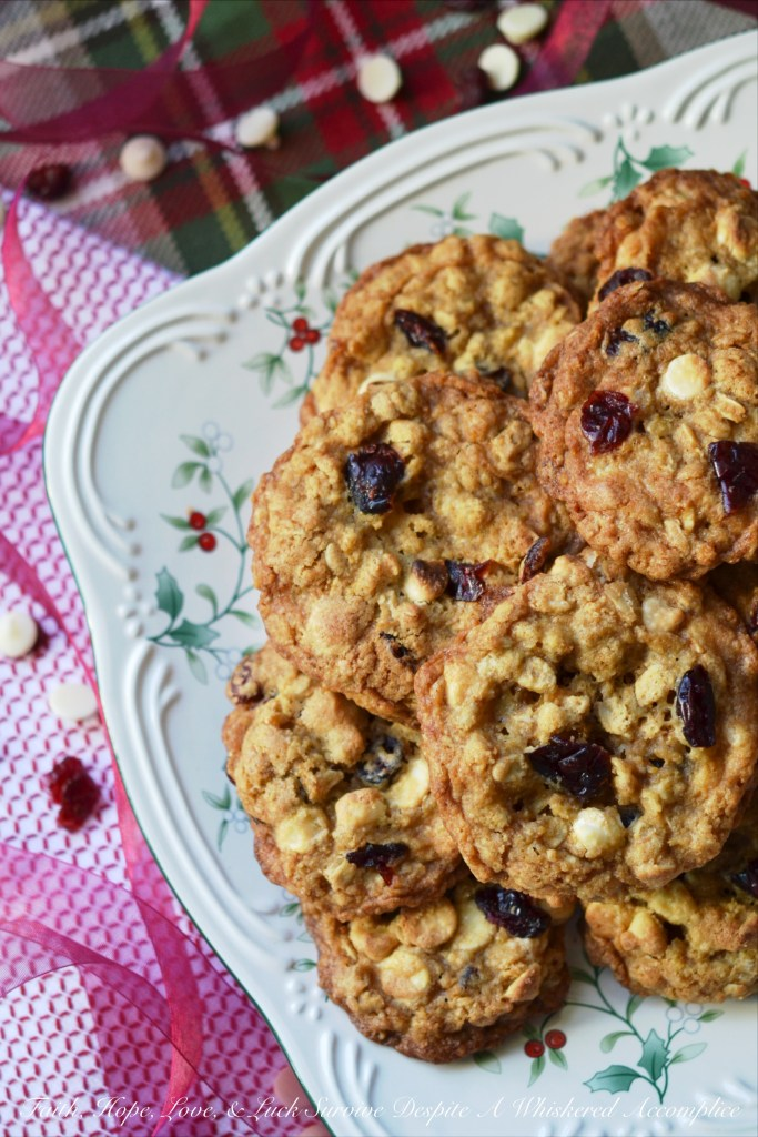 Dried cranberries, white chocolate chips, and a generous amount of orange zest make these chewy and crunchy Christmas holiday cookies simply irresistible.