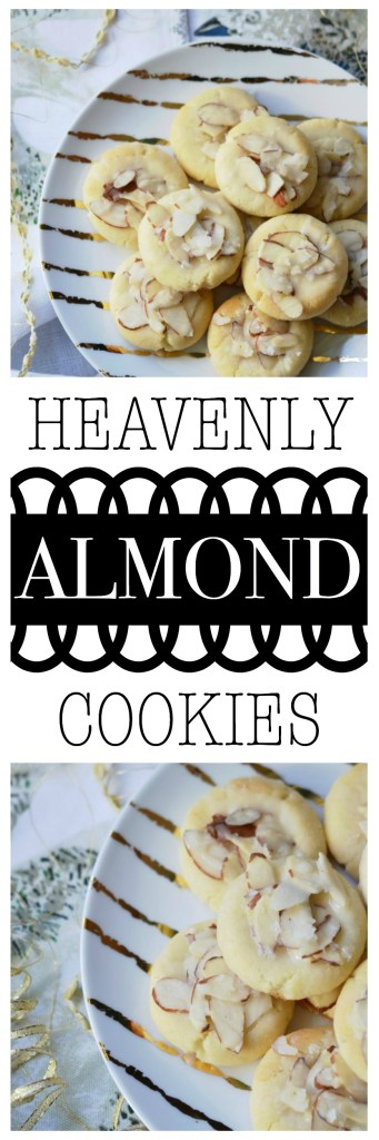 These crumbly and buttery shortbread Christmas cookies are topped with sliced almonds and then drizzled with a heavenly eggnog-infused almond glaze.