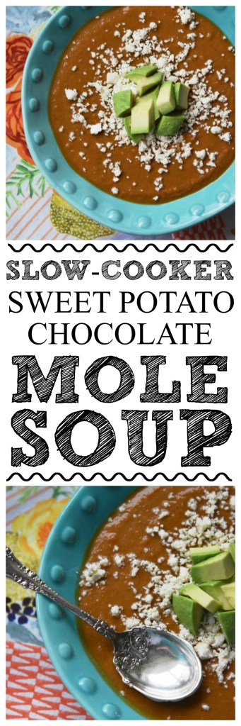 Slow-Cooker Sweet Potato Chocolate Mole Soup - This slow-cooker sweet potato soup is flavored with spicy mole seasoning and just a hint of chocolate for extra depth and flavor. Topped with guacamole and shredded or crumbled cheese, it's quite a unique and satisfying bowl of soup.