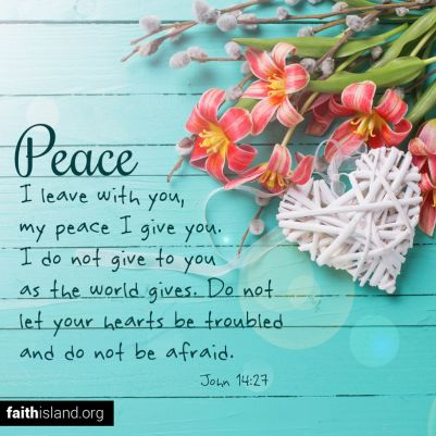 Peace I leave with you, my peace I give you. I do not give to you as the world gives. Do not let your hearts be troubled and do not be afraid.