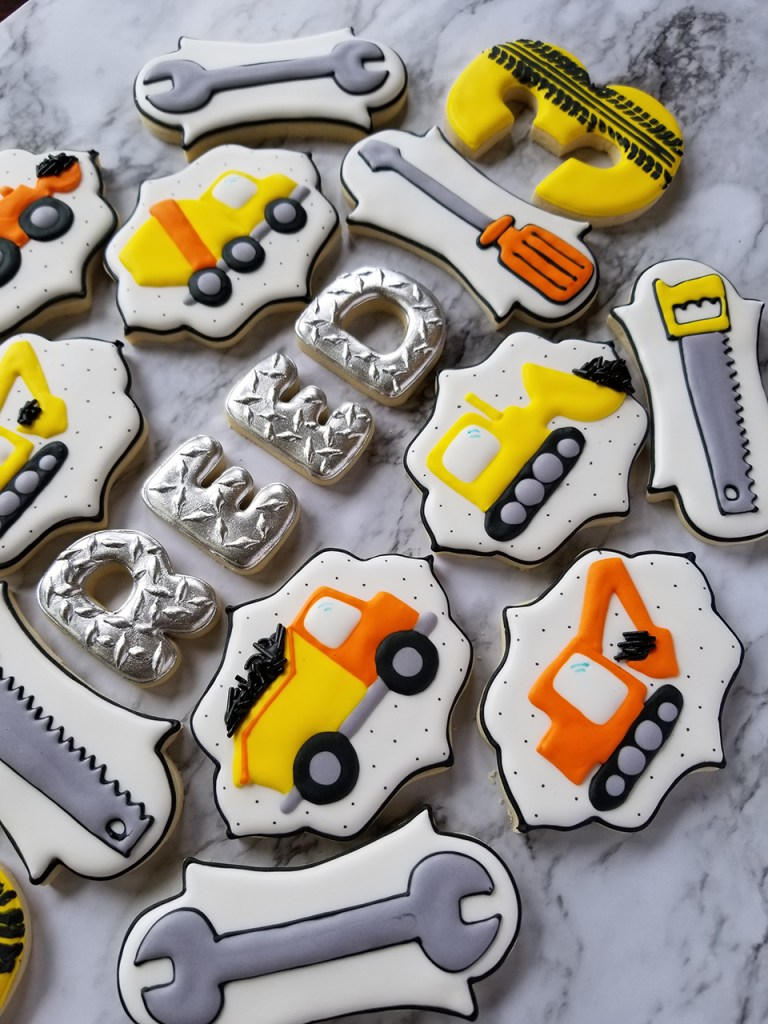 Birthday party construction and truck theme decorated sugar cookies