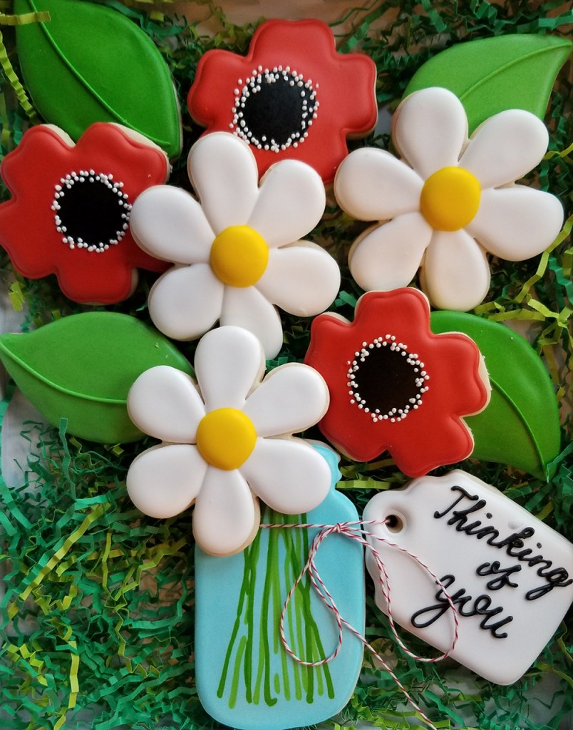 Thinking of You flower bouquet decorated sugar cookies
