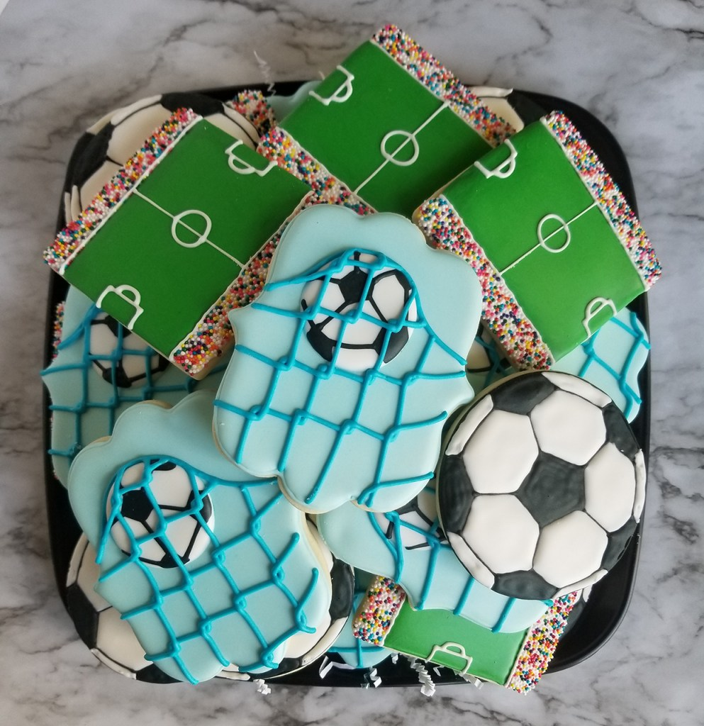 Assorted soccer theme decorated sugar cookies