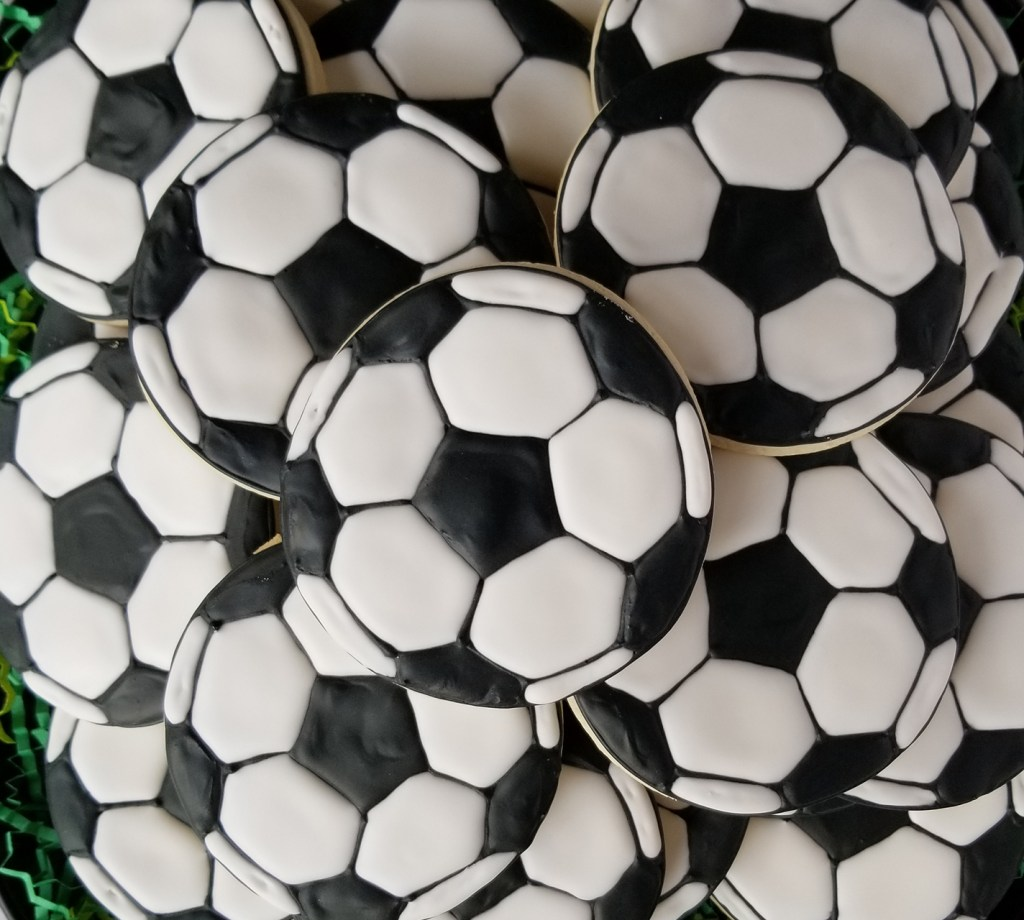 Soccer ball decorated sugar cookies