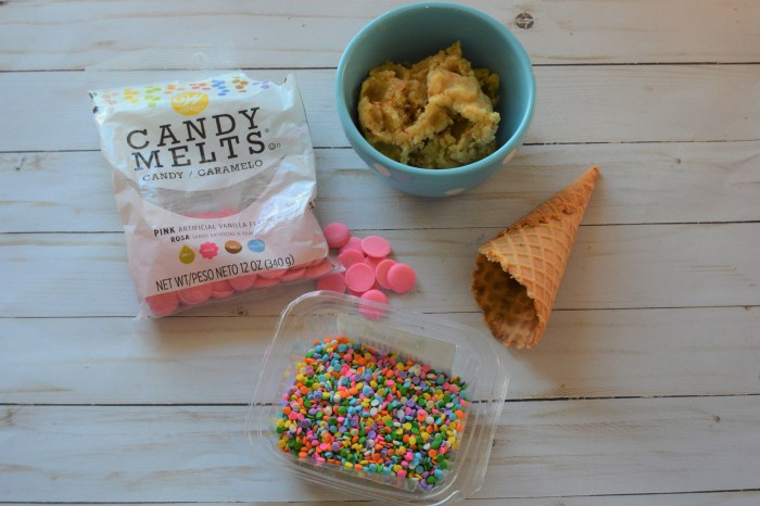 picture of candy melts, cake pop dough, sprinkles and ice cream cone