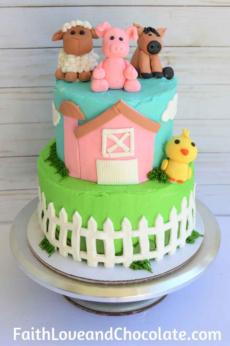 Farm animal barnyard themed birthday cake