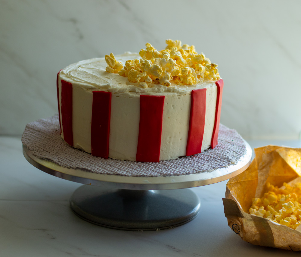 cake with popcorn