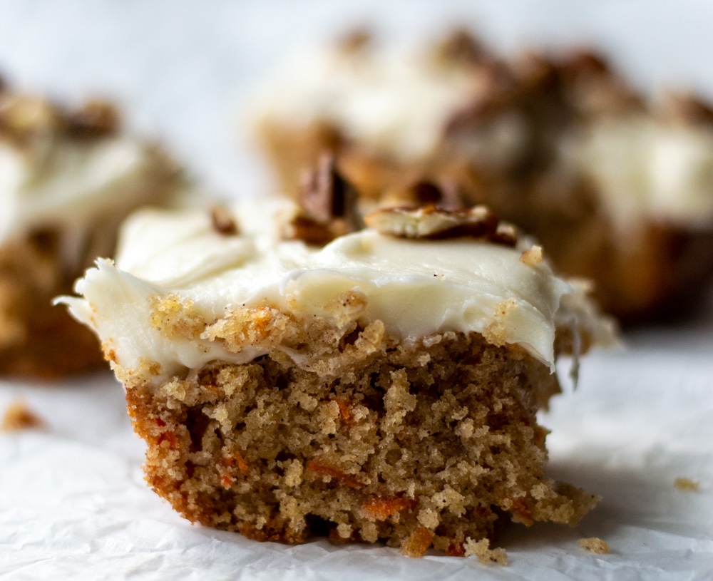 carrot cake with cream cheese icing and pecans