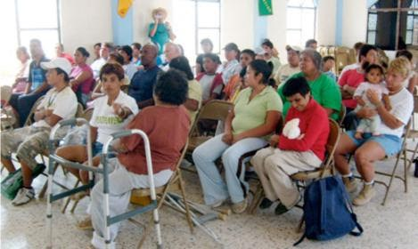 Teams staff and volunteers at a devotion service in Reynosa