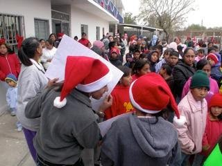 Kids having a great time at a Christmas fiesta in Miguel Aleman